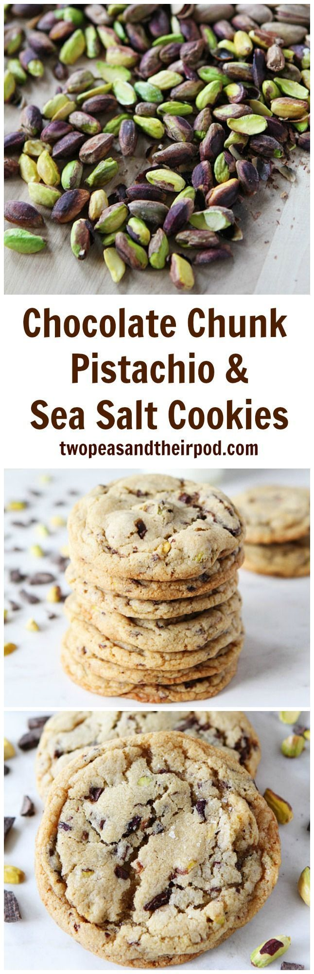 Chocolate Chunk, Pistachio, and Sea Salt Cookies Recipe on http://twopeasandtheirpod.com Soft and chewy chocolate chunk cookies with pistachios and a sprinkling of sea salt. These are the BEST cookies! #cookies #bake
