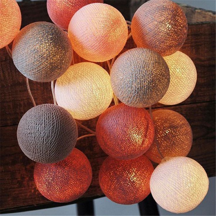 Hot 20 Sweet Pastel Warm Brown Scheme Cotton Balls With LED Light String Light Fairy For Wedding Christmas Party Home Decoration