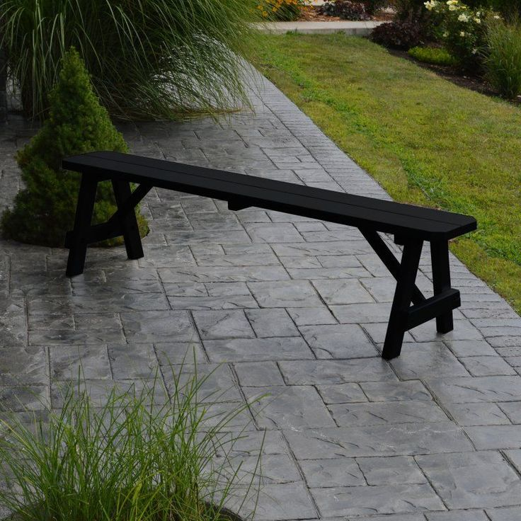 Outdoor A & L Furniture Yellow Pine Traditional Bench Black - 155-BKP BLACK