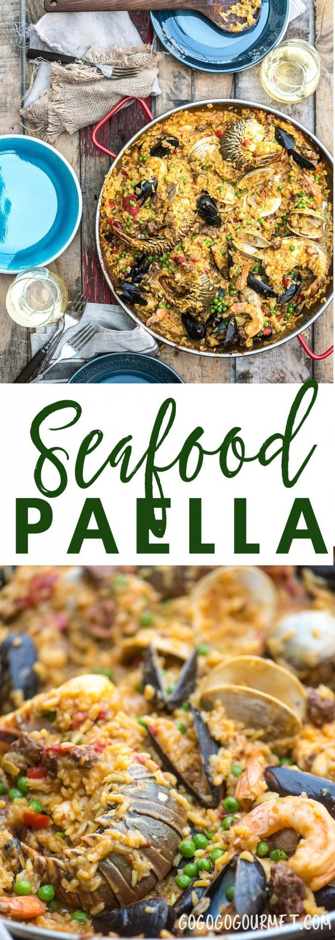 Seafood paella is a flavorful dinner ready to share with friends, chock full of seafood and chorizo. via @gogogogourmet