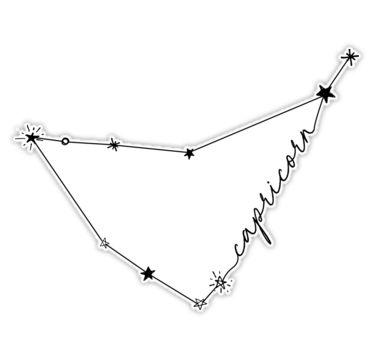 'Capricorn Constellation Zodiac Drawing Sticker' Sticker by aterkaderk