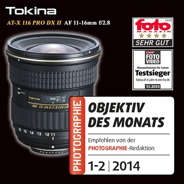 """TOKINA AT-X 11-16/2.8 PRO DX II - Objektiv des Monats! In dem Magazin """"photographie 1-2 2014"""" ist das Tokina 11-16 II das Objektiv des Monats geworden! Das Objektiv wurde an einer Nikon D7100 getestet.  http://www.hapa-team.de/OBJEKTIVE/Weitwinkel/AT-X-11-16-2-8-Pro-DX-II-Nikon::539.html"""