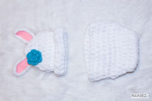Cute Hand-Made Crochet Soft White Bunny - Perfect as a baby photography prop - Made with soft yarn - Great for new moms and perfect for a baby shower gift! www.rainiez.etsy.com