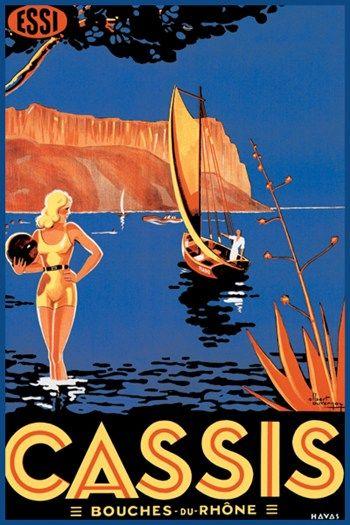 Vintage Travel Poster - Cassis - Bouches du Rhône - France.