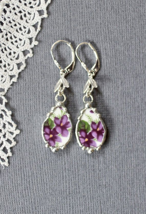 Earrings Broken China Jewelry Broken China by Robinsnestcreation1