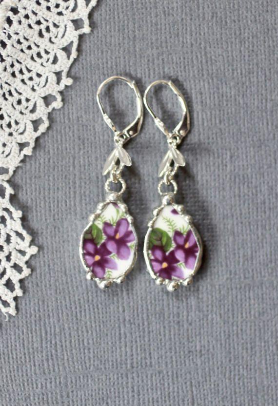 Earrings Broken China Jewelry Broken China by Robinsnestcreation1