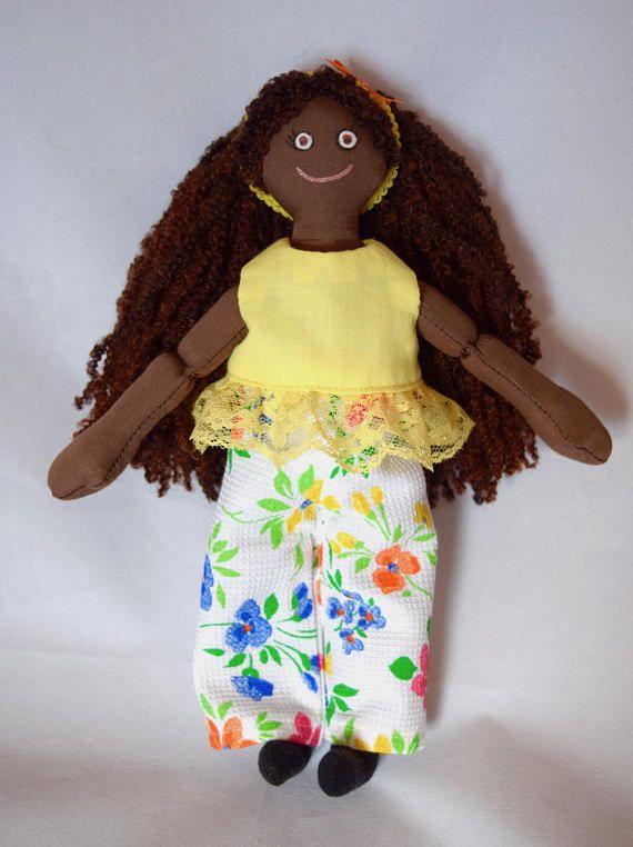 Black Doll  Girl Doll  Handmade Kids Toy