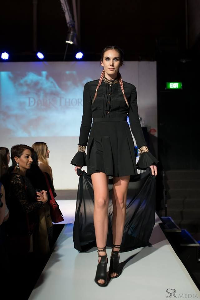 Raw Adelaide Signature 1.04.2016  Maddison on the runway in the Clara dress with a piece of chiffon tied to her wrists for flow  Photography: SR Media Hair: Caitlan Prater Makeup: Tiarna Lehmann  CLARA: http://www.darkthornclothing.com/collections/rebirth/products/clara-dress