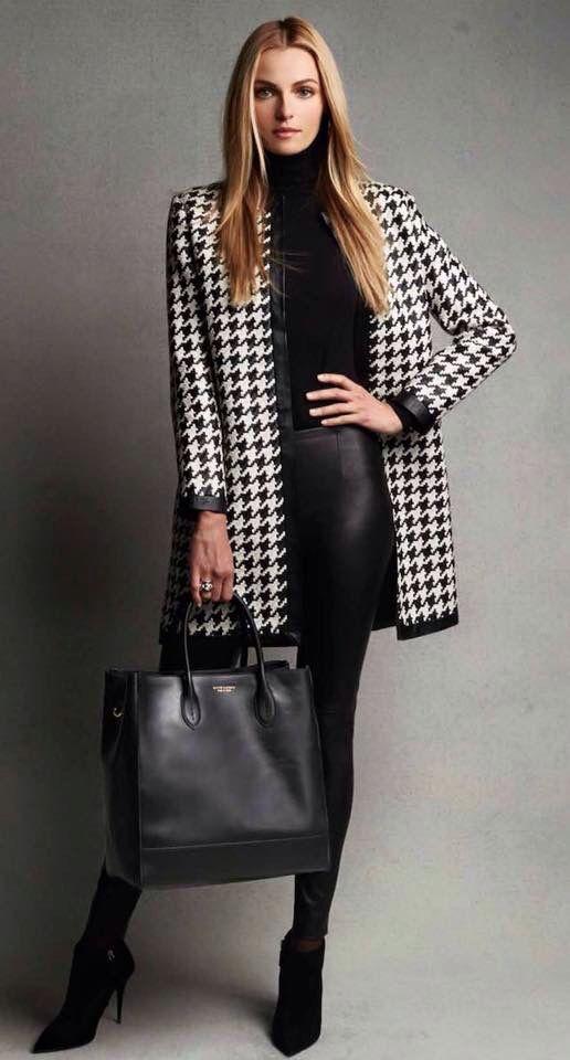 Herringbone jacket over black  Pinterest @ellebelle317