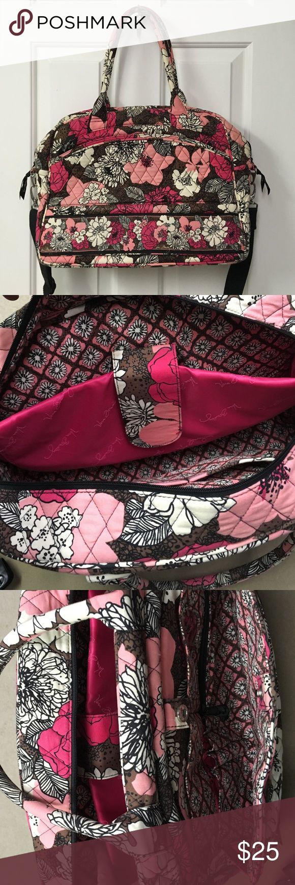 Vera Bradley laptop bag Vera Bradley laptop bag, with shoulder strap and tote bag bundles. Padded Velcro laptop sleeve inside. 2 inner pockets in large inside compartment. Outer pocket unzips and has card slots, zip pouch, and pen slots. Perfect for work. Small coffee stain on bottom, pictures. Otherwise great condition. Vera Bradley Bags Laptop Bags