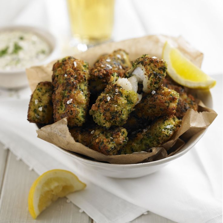 Reinvent the classic fish goujon with this verdant green gremolata crust packed with parsley, garlic and lemon zest. Dipped in homemade tartare sauce they are the perfect Friday night supper.