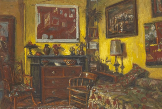 Margaret Olley: Home. To walk into Olley's home was like walking into a painting. This exhibition is the first to focus on the artist's home in Duxford Street, Paddington. Considering Olley's paintings alongside photographs of the interior, objects from the house and reflections from her friends, the exhibition explores her home as inspiration. 'Yellow interior' (detail), Margaret Olley, 1989, oil on board. Collection of Philip Bacon, Brisbane (c) Estate of Margaret Olley. Photograph Jon…