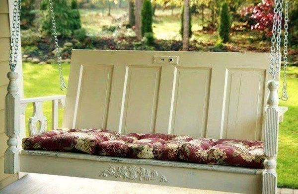 Shabby Chic Porch Swing #diy #upcycled with 2 doors #paint #distress it #pink #blue #romantic #vintage #home #decorative #old feel #rustic