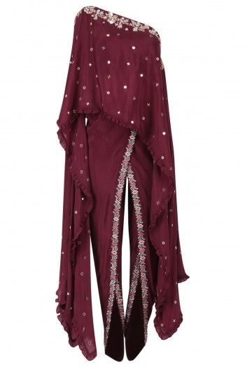 Monika Nidhii Wine One Shoulder Embroidered Cape with Dhoti Pants Set