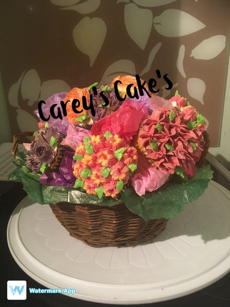 Cupcake flower basket