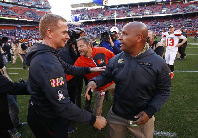 Cowboys vs. Browns:  35-10, Cowboys  -   November 6, 2017:     Jason Garrett of the Dallas Cowboys and Hue Jackson of the Cleveland Browns shake hands after the game at FirstEnergy Stadium on November 6, 2016 in Cleveland, Ohio. (Photo by Gregory Shamus/Getty Images)