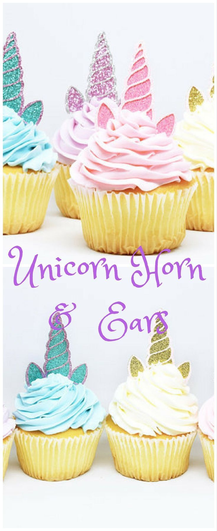These are perfect! #unicorn #ad #unicorncupcake Unicorn Horn + Ears Cupcake Toppers - Glitter - First Birthday Decor. Unicorn Party Decor. Birthday Party. Bachelorette Party. Unicorn Decor