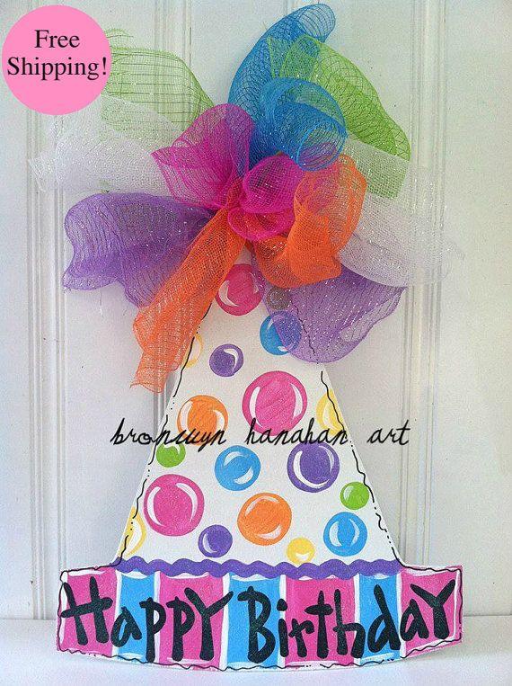 Happy Birthday Hat Door Hanger - Free Shipping - Bronwyn Hanahan Art on Etsy, $50.00