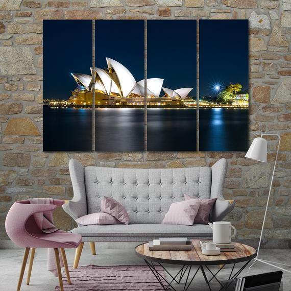 Canvas Set Of Sydney Opera House Sydney Modern Wall Art Etsy In 2020 Canvas Wall Decor Etsy Wall Art World Map Wall Decor