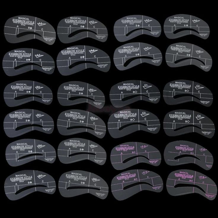 24Pcs 6 Sets Eye Brow Grooming Stencil Kit Eyebrow Template Make Up Shaping Tool #