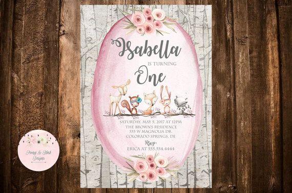 Woodland Birthday Invitation Woodland Animal by PeonyBlushDesigns
