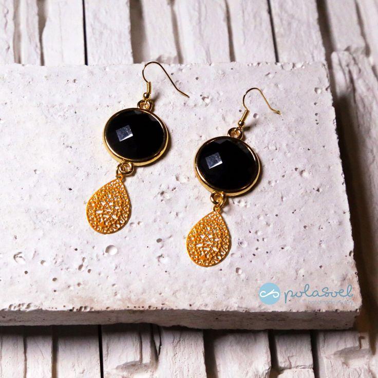Dangle and drop earrings /chandelier earrings /fashion and chic earrings/ golden laser cut earrings with black stone by polasoeljewelry on Etsy