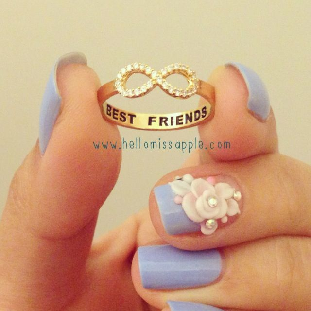 Crystal Best Friends Ring from Hello Miss Apple www.hellomissapple.com Crystal infinity ring with Best Frends engraving #infinityring