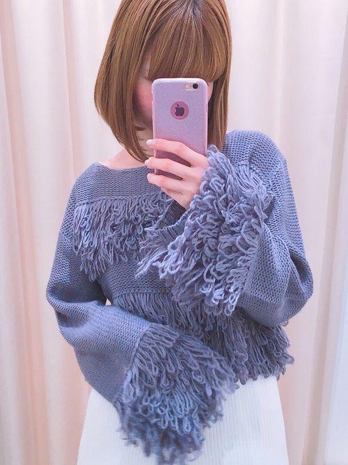 ちぴちゃん&ひぃぼーくんコラボ❤️ ざっくりループ網ニットが可愛すぎ🌙 大人っぽく着れるよ♡