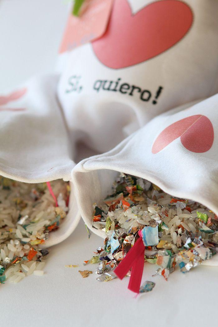 Bolsas de papel picado para festejar una boda