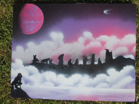 Lord of the Rings fellowship spray paint art. Hey, I found this really awesome Etsy listing at https://www.etsy.com/listing/198836562/lord-of-the-rings-fellowship-fantasy