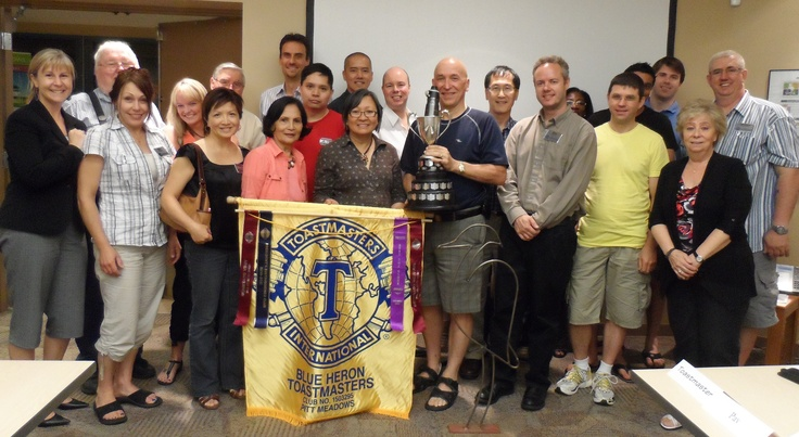 Blue Heron Toastmasters meet Thursday nights @ 7:30PM in Pitt Meadows ... close to a place that serves very cheap wings on Thursdays! Convenient! Caught them red handed with Rocky Point's banner! Fun, diverse group of young and more ... experienced. http://blueheron.toastmastersclubs.org