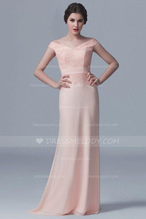 Off-The-Shoulder Sweep Train Pink Chiffon Bridesmaid Dress With Lace  #wedding #weddingphotography #weddinghairstyles #weddingflowers #weddingrings #w...