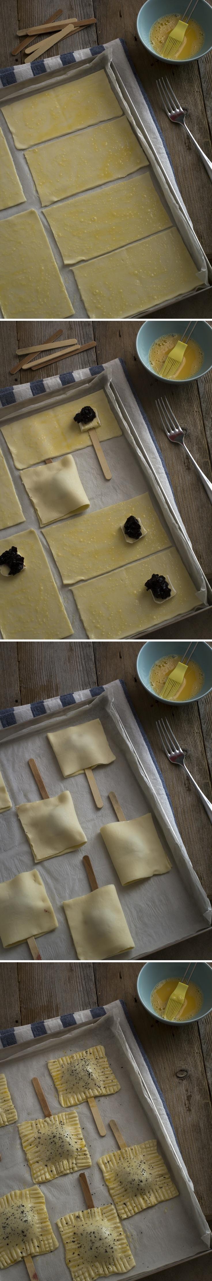 Fagottini di pasta sfoglia ripieni di Brie e marmellata di mirtilli.  - Easy and delicious baked Brie bites