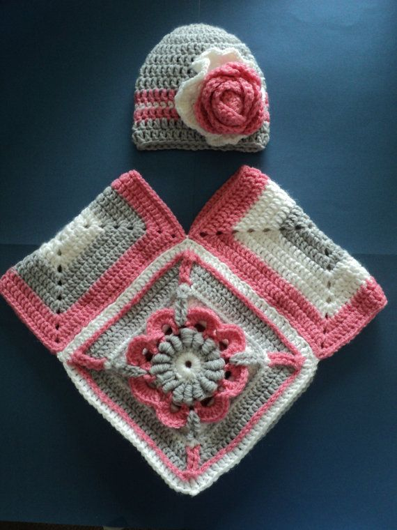 Crocheted Pink Grey & White Baby/ Newborn Poncho by myponcholoco, 50.00
