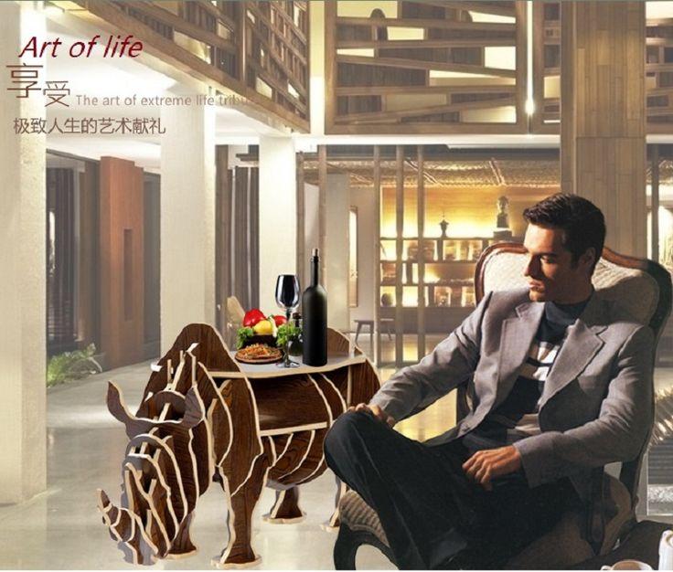 """J & E de gama alta 45.6 """"rinoceronte de madera maciza mesa de café muebles para el hogar"""