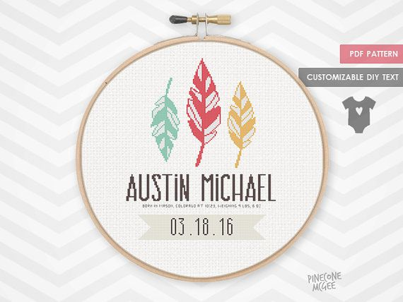 FEATHER BABY ANNOUNCEMENT counted cross stitch by PineconeMcGee