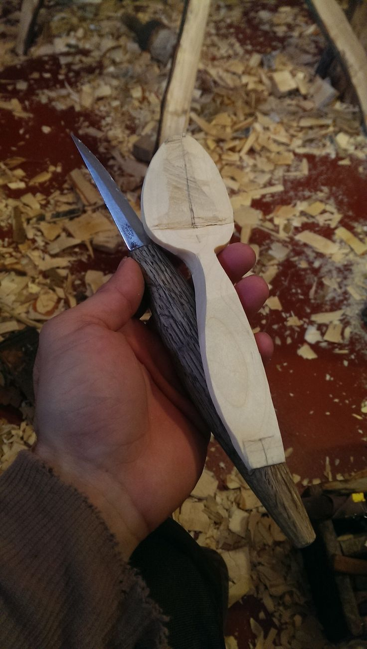 Using hand tools to carve a birch spoon — Sylva Spoon