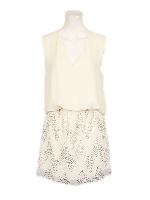 witte jurk met pailletten - Korte jurken - BoBo Tremelo