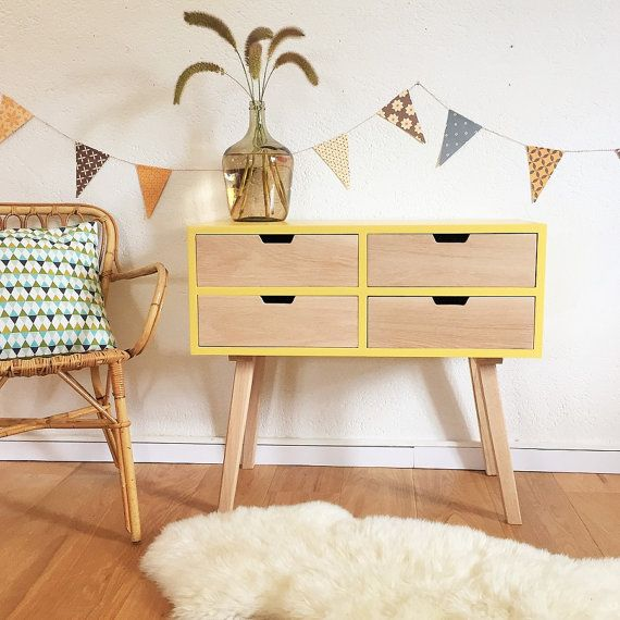 SOLD OUT - Chest of drawers, dresser, cabinet, Scandinavian & mid century design, yellow color, model Sidonie