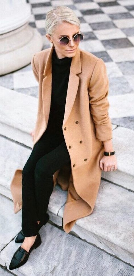 black and nude trends   coat + top + pants + loafers