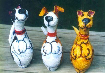 Bowling pin crafts   bowling pin style dog portraits