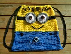 Dave the Minion Crochet Backpack. Need to show your aunt Cherie this!