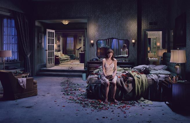 """Since a photograph is frozen and mute, since there is no before and after, I don't want there to be a conscious awareness of any kind of literal narrative. And that's why I really try not to pump up motivation or plot or anything like that. I want to privilege the moment.""- Gregory Crewdson on photographing his subjects    That way, the viewer is more likely to project their own narrative onto the picture."