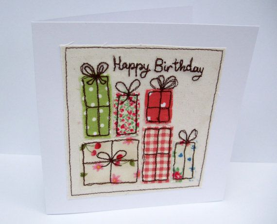 Birthday Card - Machine Embroidered Birthday Presents, Birthday Gifts - Pastels
