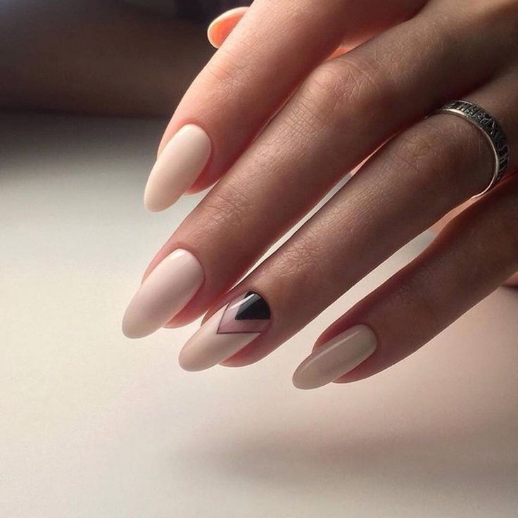 Beige and pastel nails, Black and beige nails, Half-moon nails ideas, Ideas of beige nails, Long nails, Nails ideas 2017, Oval nails, Oval nails by gel polish Her pinky is so small and cute! Or I'm just weird...probably both lol.