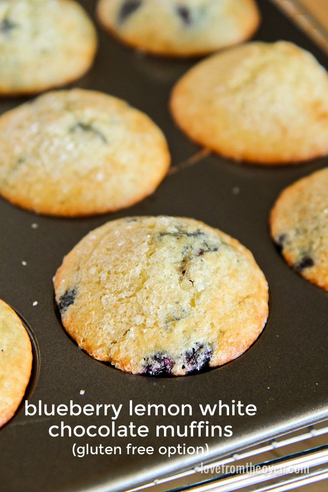Blueberry Muffins With A Hint of Lemon and White Chocolate.  Both regular and gluten free recipe options.