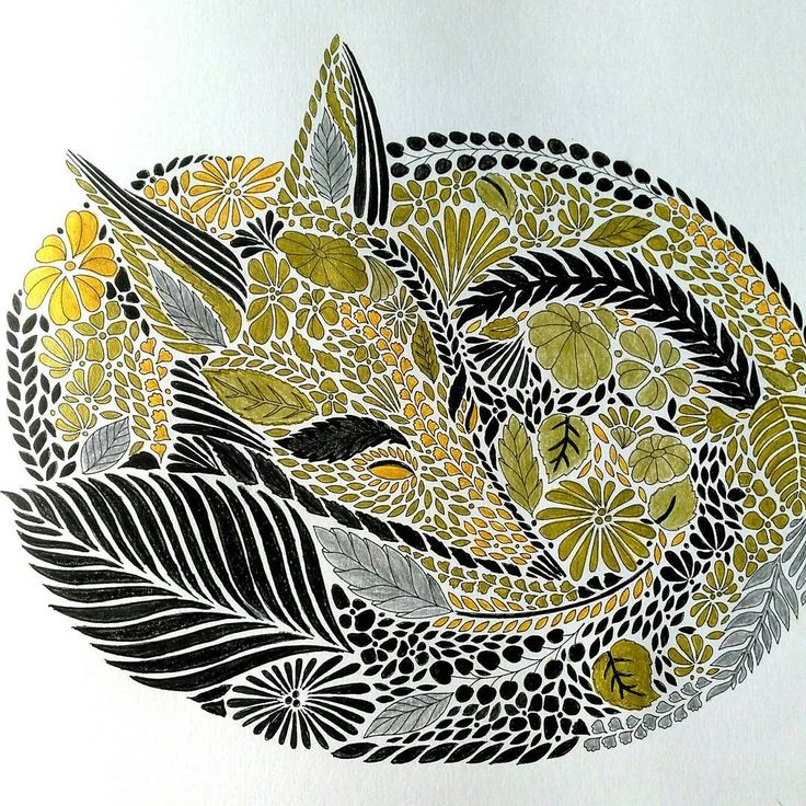 Black And Gold Fox From Milliemarotta Having Finished This Second One Makes Me Think That I Like Millies Coloring Book The Best