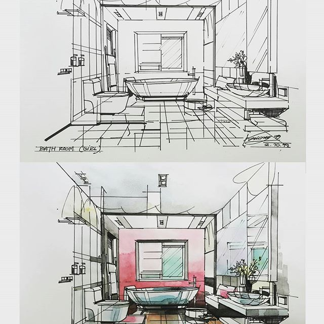 509 best in sketch images on pinterest architecture for Bathroom interior design drawing