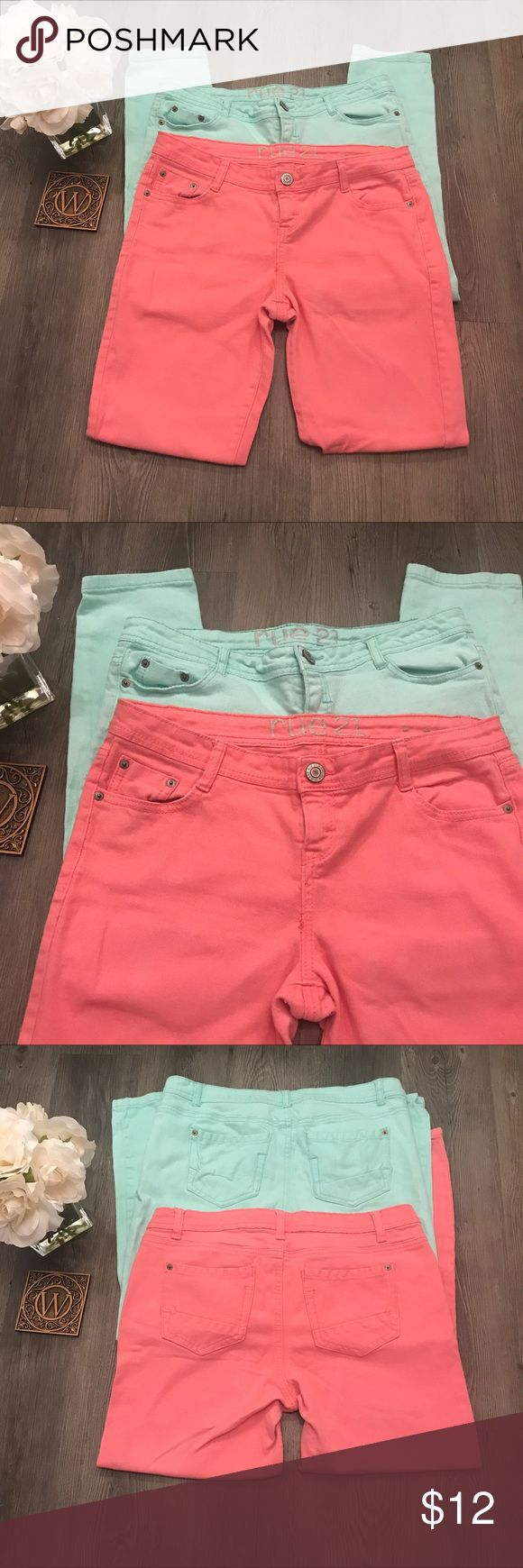 Rue 21 Coral and Mint Green jeans Juniors Brand: Rue 21. Colors: Mint Green and Coral. Juniors Size 11/12 Jeans . Bundle . Measurements: Length 26 in. Waist 19 in.  Materials 98% Cotton, 2% Spandex. GTEAT CONDITION Rue 21 Jeans Skinny
