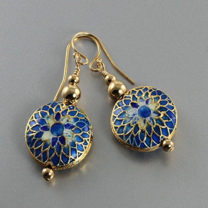 Blue Cloisonné Gold Bead Earrings